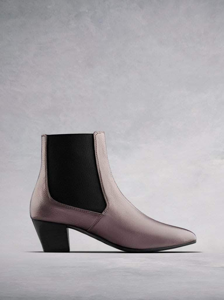 Edison, a modern take on a classic Chelsea boot in metallic pewter leather.