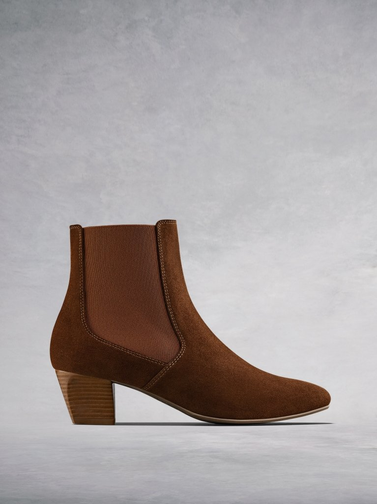 The Edison, a modern take on a classic Chelsea boot in soft tan suede.