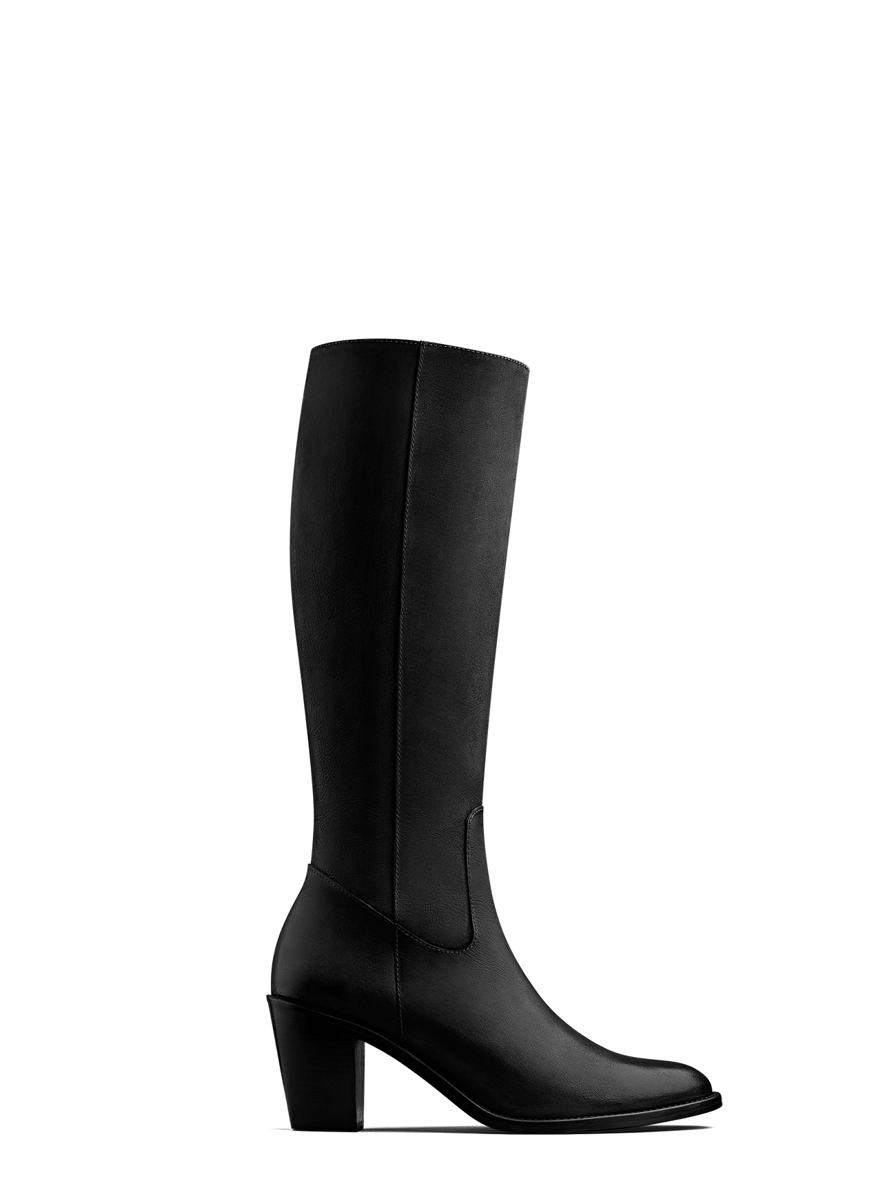 Feltham, our black nubuck leather knee high boot with a mid-height Cuban heel.