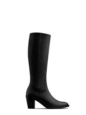 Feltham Black Nubuck - Classic mid heel knee high boot