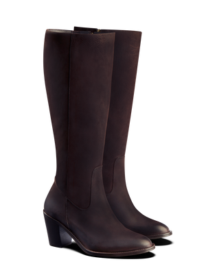 Feltham Brown Nubuck - Classic mid heel knee high boot