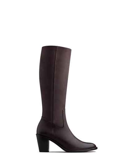 Feltham, our brown nubuck leather knee high boot with a mid-height Cuban heel.