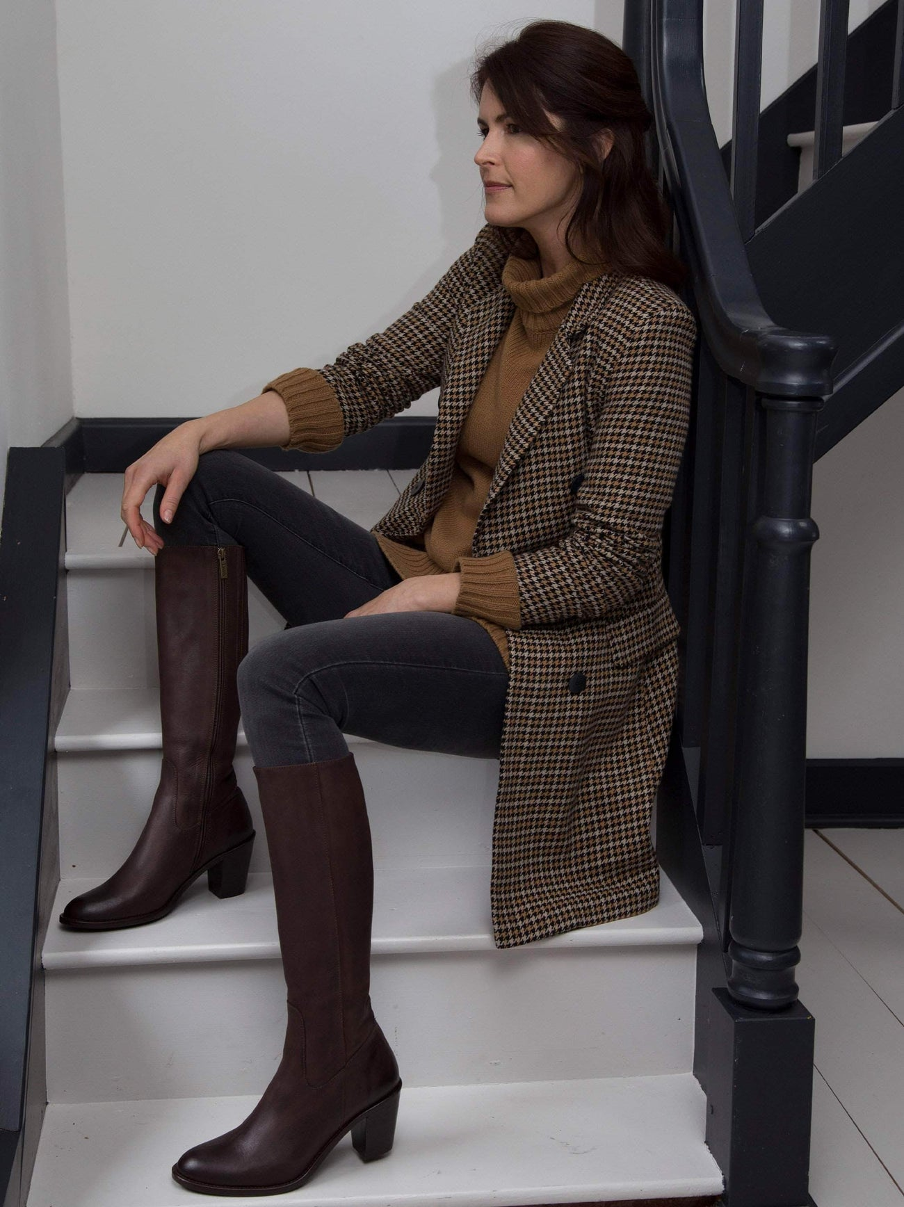 Feltham a classic, timeless, clean-cut brown nubuck leather knee high boot.