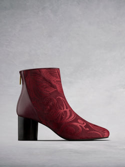 The Gosford, an embroidered burgundy suede and leather ankle boot.