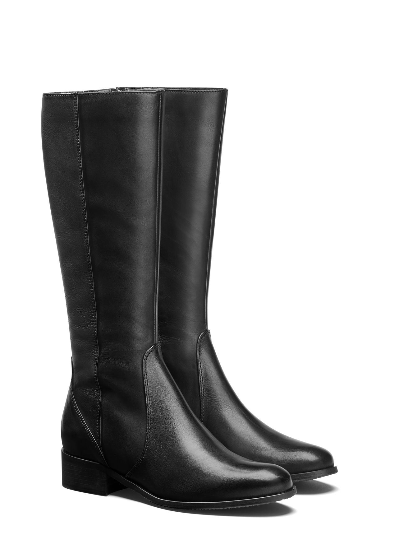 Haltham, a classic design riding style boot in black leather with a slim ankle.