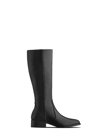 Haltham - a classically designed flat riding boot in black leather.