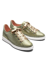 Haryln, our khaki metallic leather trainer with cushioned insoles for comfort.