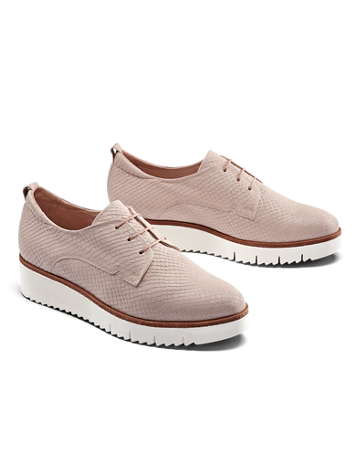 Hayle, our lace-up brogue flatform shoe in blush pink snake embossed leather.