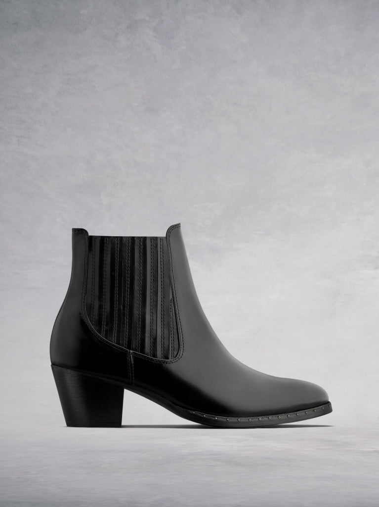 The Hockley, our Western inspired glossy black leather ankle boot.
