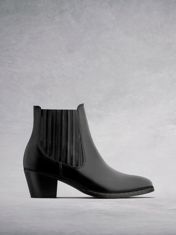 Hockley Black Gloss Leather - Statement ankle boots with Cuban heel.