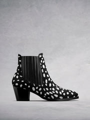 Hockley Black & White Hair Leather - Statement ankle boots with Cuban heel.