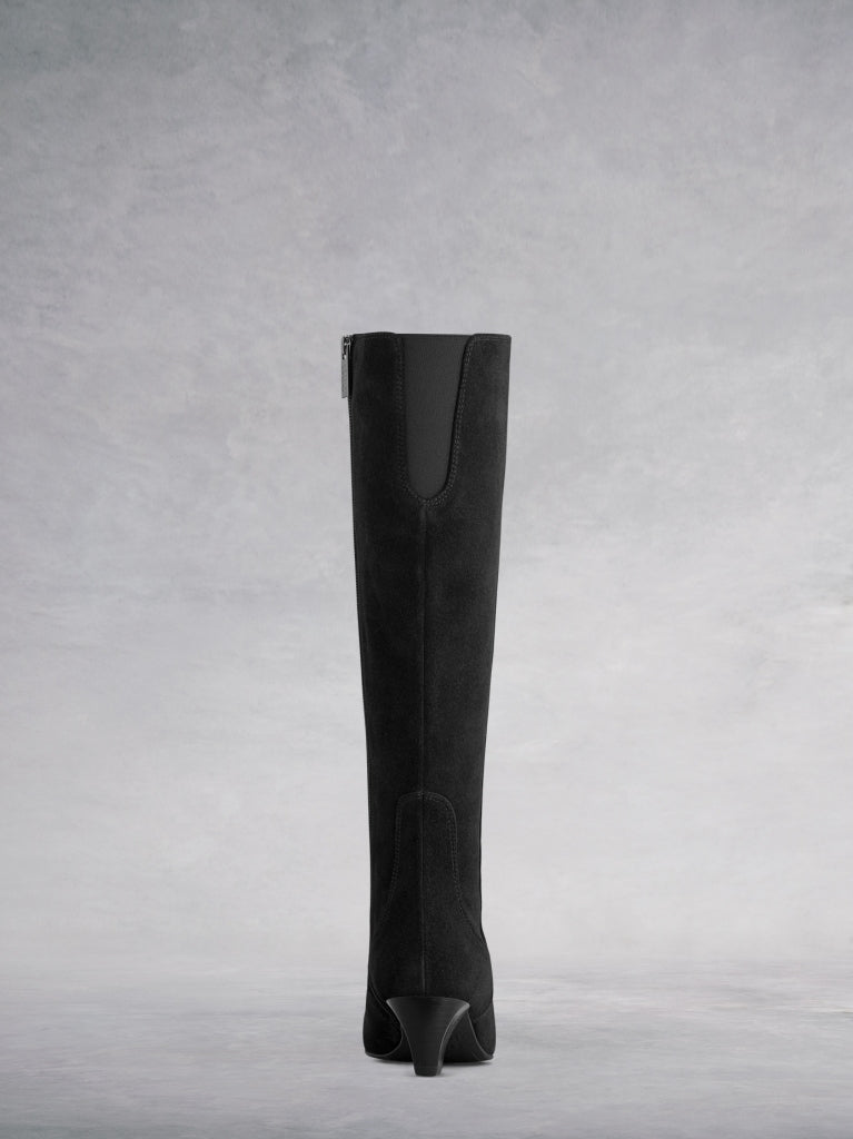 Holton Black Suede - Knee high boots with chisel shaped toe.