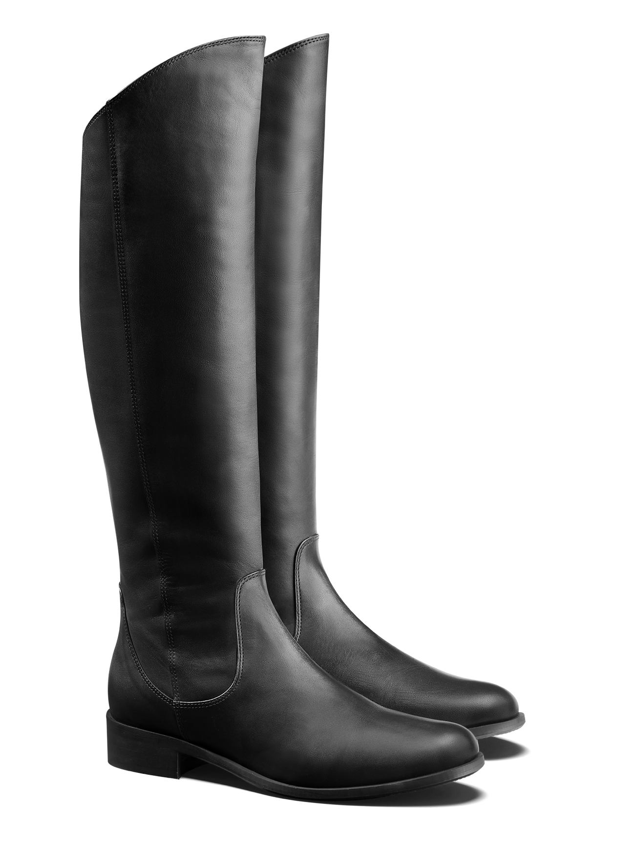 Huntsman, a knee high, fashion riding boot in black leather with an asymmetric top line.