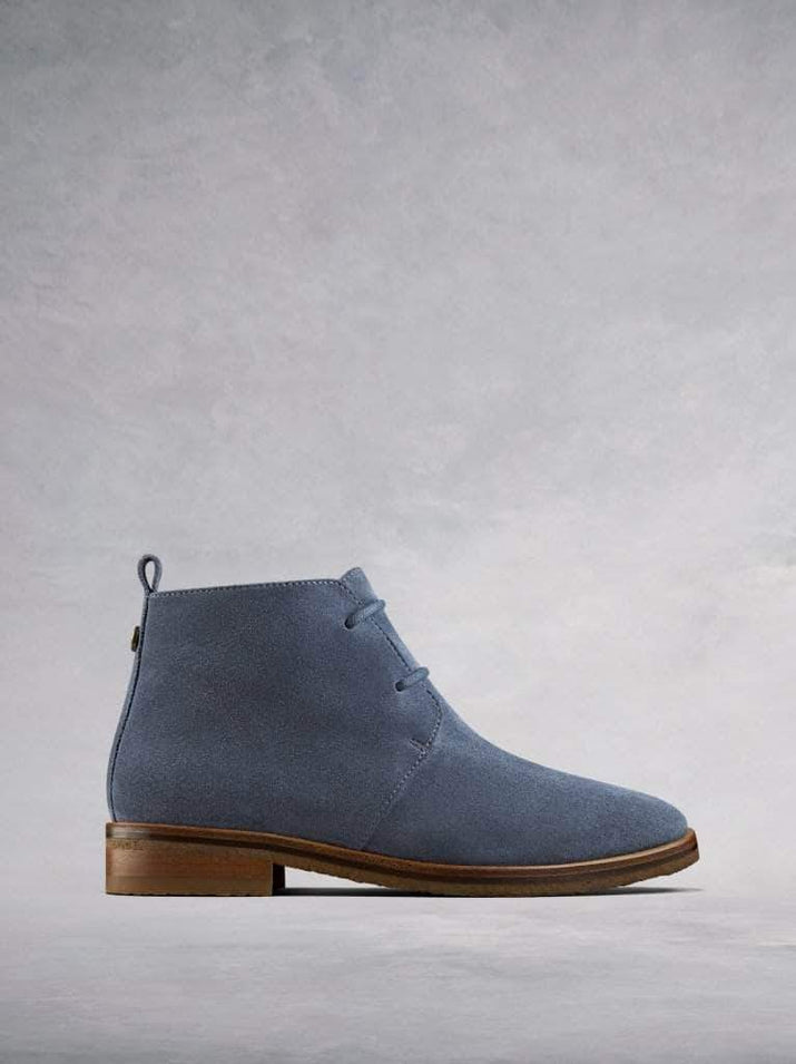 Juliete - an everyday blue suede lace-up desert boot.