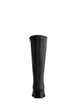 This black boot features a textured back panel and a shorter knee high cut.