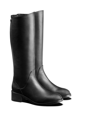 Kestrel; black leather riding-style boots with a textured back panel.
