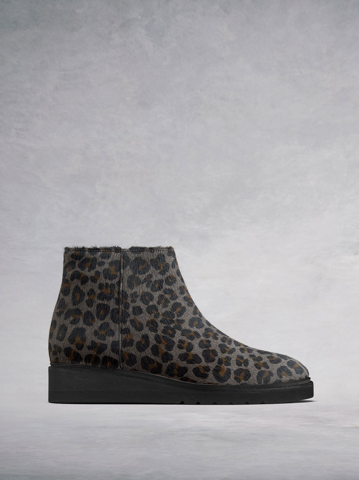 The Kielder, flat ankle boots in on-trend grey leopard hair leather.