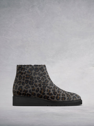 Kielder Grey Leopard Hair Leather - Flat ankle boots with E.V.A sole.