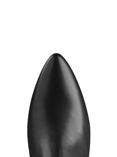 Kingsmead Black Leather has a pointed toe to complement the shaped heel.