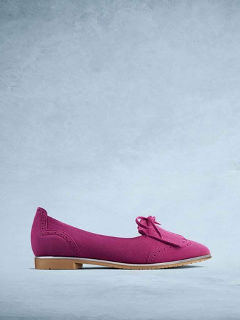 Lamorna Pink Suede - Sophisticated ballet pump with brogue style detailing.