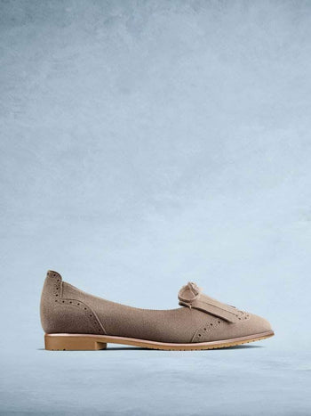 Lamorna Taupe Suede - Sophisticated ballet pump with brogue style detailing.