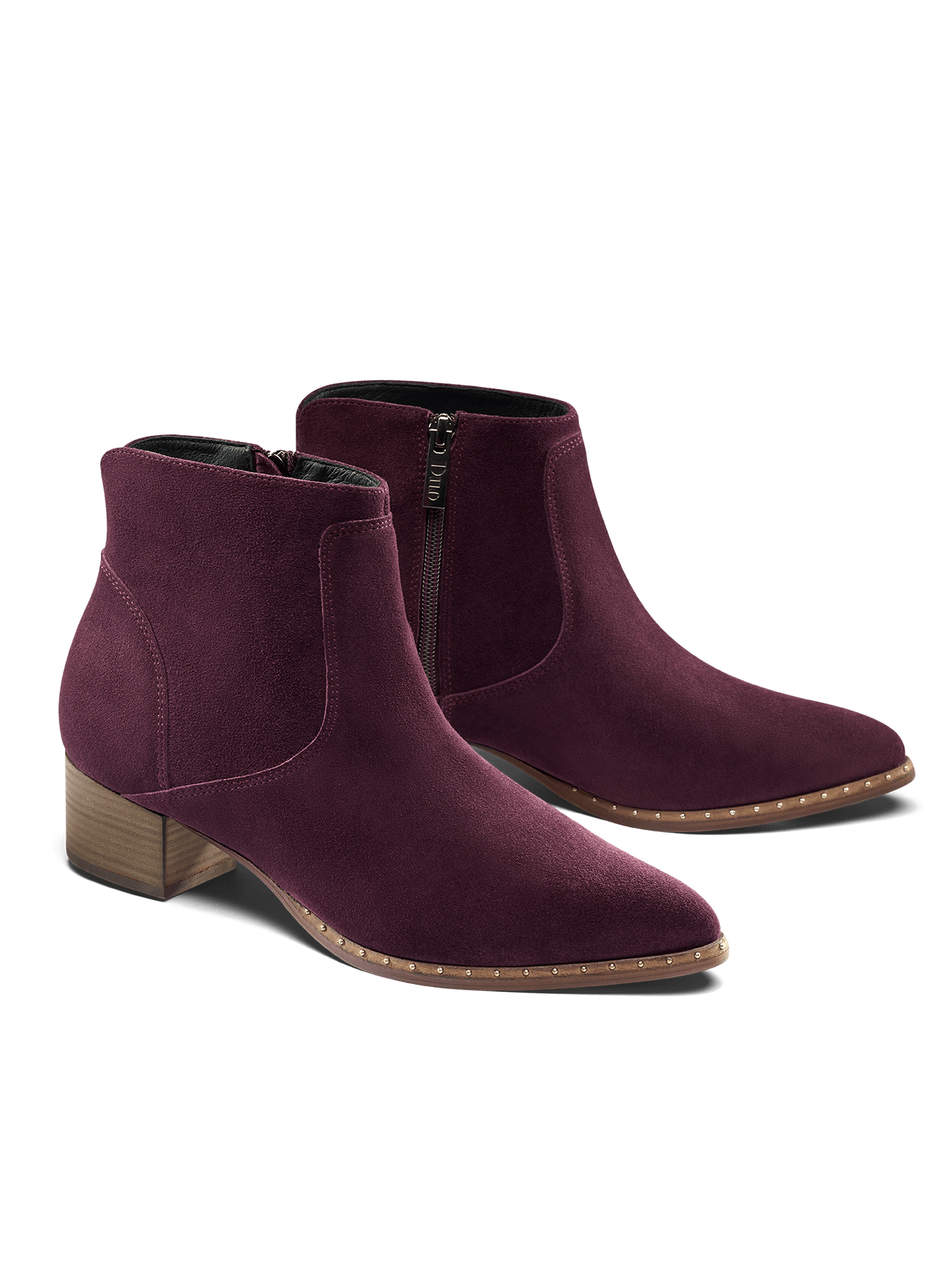 Ludlow, a purple suede ankle boot with stud detail is perfect for everyday wear.
