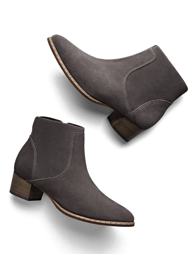 Ludlow in smoke grey suede, features stud detail, a low heel and a pointed toe.
