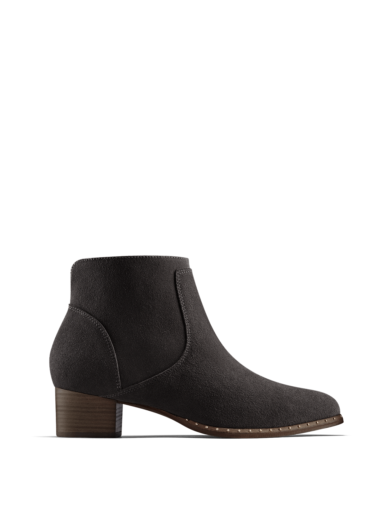 Ludlow, our versatile everyday grey suede ankle boot with stud detailing.