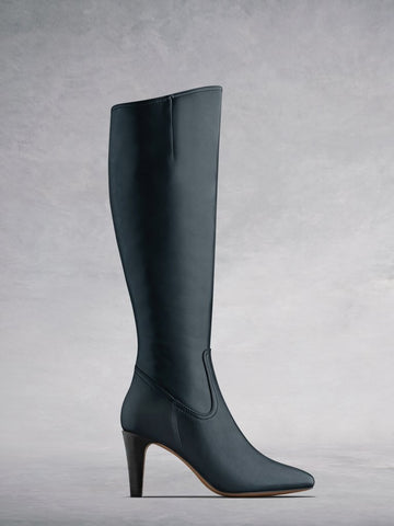 Luxor Navy Leather - Simple, versatile leather  boots with stacked heel - web exclusive.
