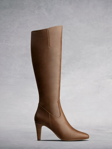 Luxor Tan Leather - Simple, versatile leather boots with stacked heel.
