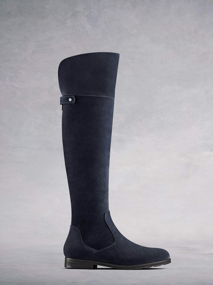 Lyndhurst, our versatile over the knee boots in navy suede. With full-length zip and v-shaped top collar for comfort.