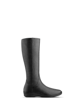 Malvern, our black leather knee high boot with a practical everyday sports sole.