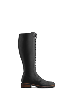 Marvel; brogue inspired lace-up knee high boots in black calf leather.