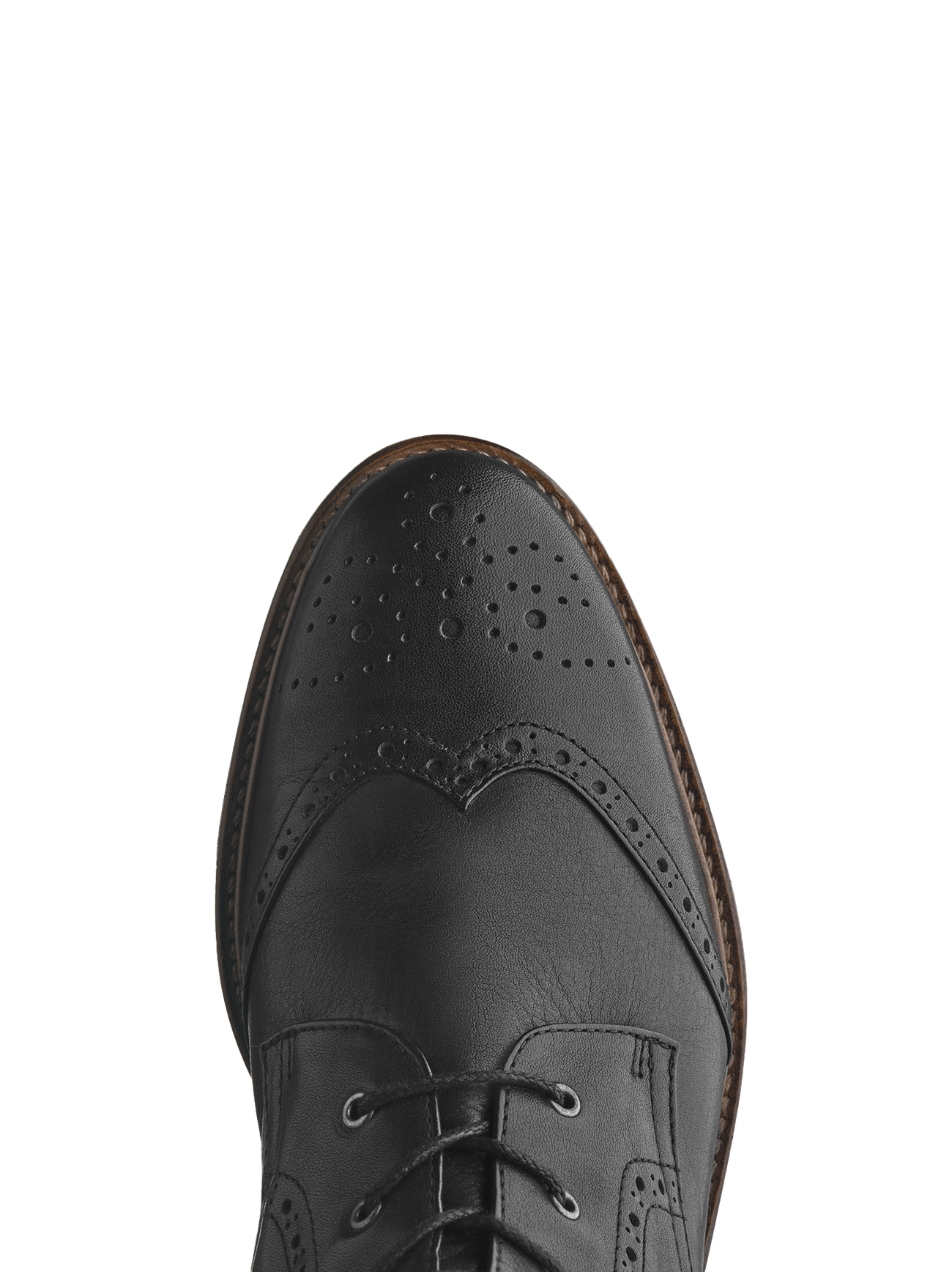 With stylish black leather brogue detailing over the classic round toe shape.