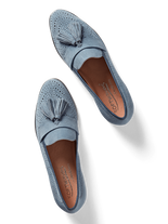 Milford, our flat sole tassel loafer, in perforated chambray blue suede.