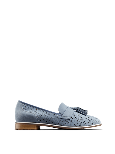 Milford, a statement loafer in soft pastel blue suede with perforated detailing.