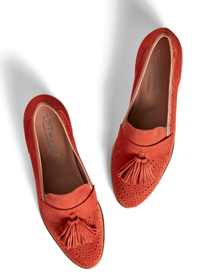 Milford Coral Orange Suede - Flat sole tassel loafer in suede