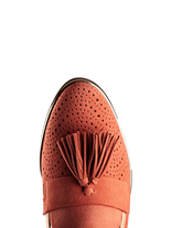 Milford loafer, has an oversized tassel, and a flattering almond toe shape.