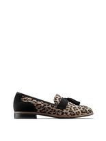 Milford, a statement loafer with leopard print suede and black detailing.