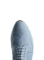 Mullion, a stylish brogue has a flattering almond toe shape and metallic trim.