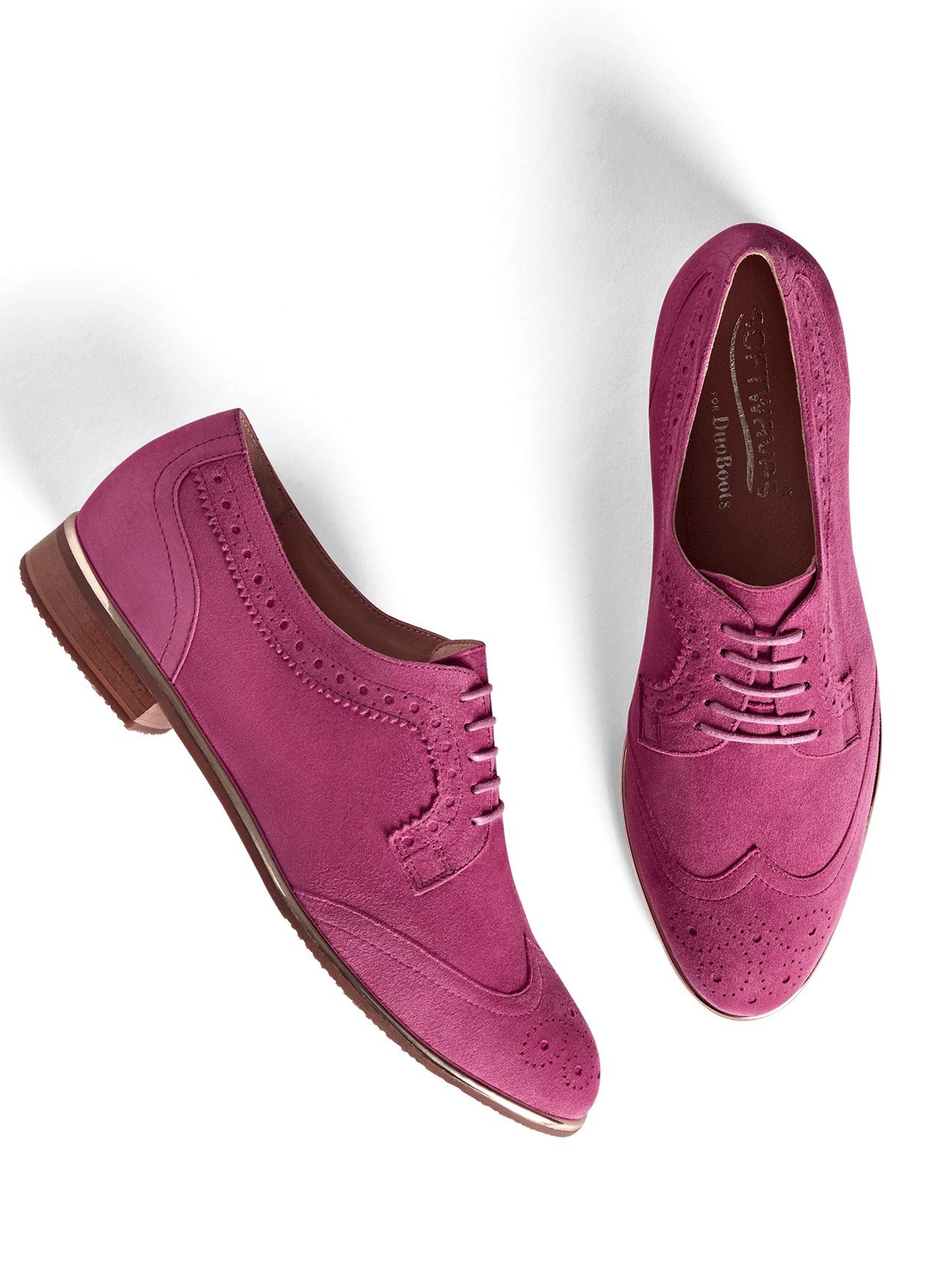 Our Mullion brogue has a padded insole and pink leather lining for extra comfort.