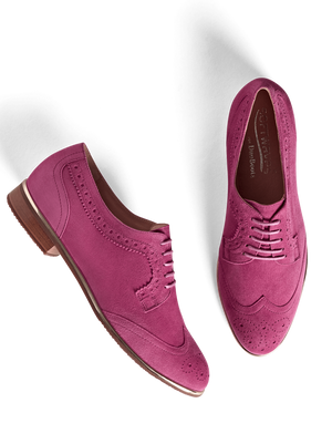 Mullion Fuchsia Pink Suede - Colourful brogue style lace up shoe