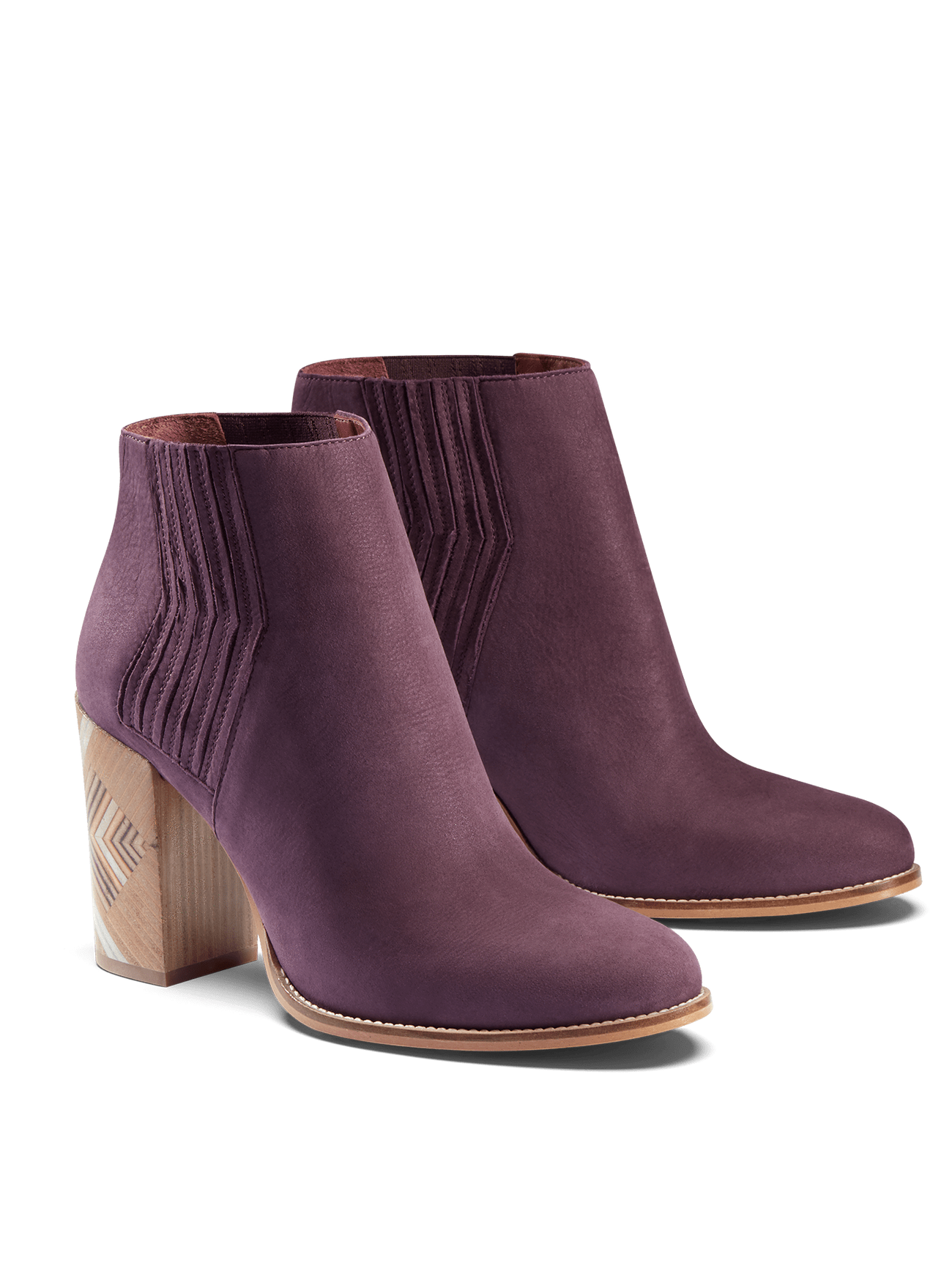 Paragon in cassis purple nubuck, with zig-zag stitching and stacked leather heel.