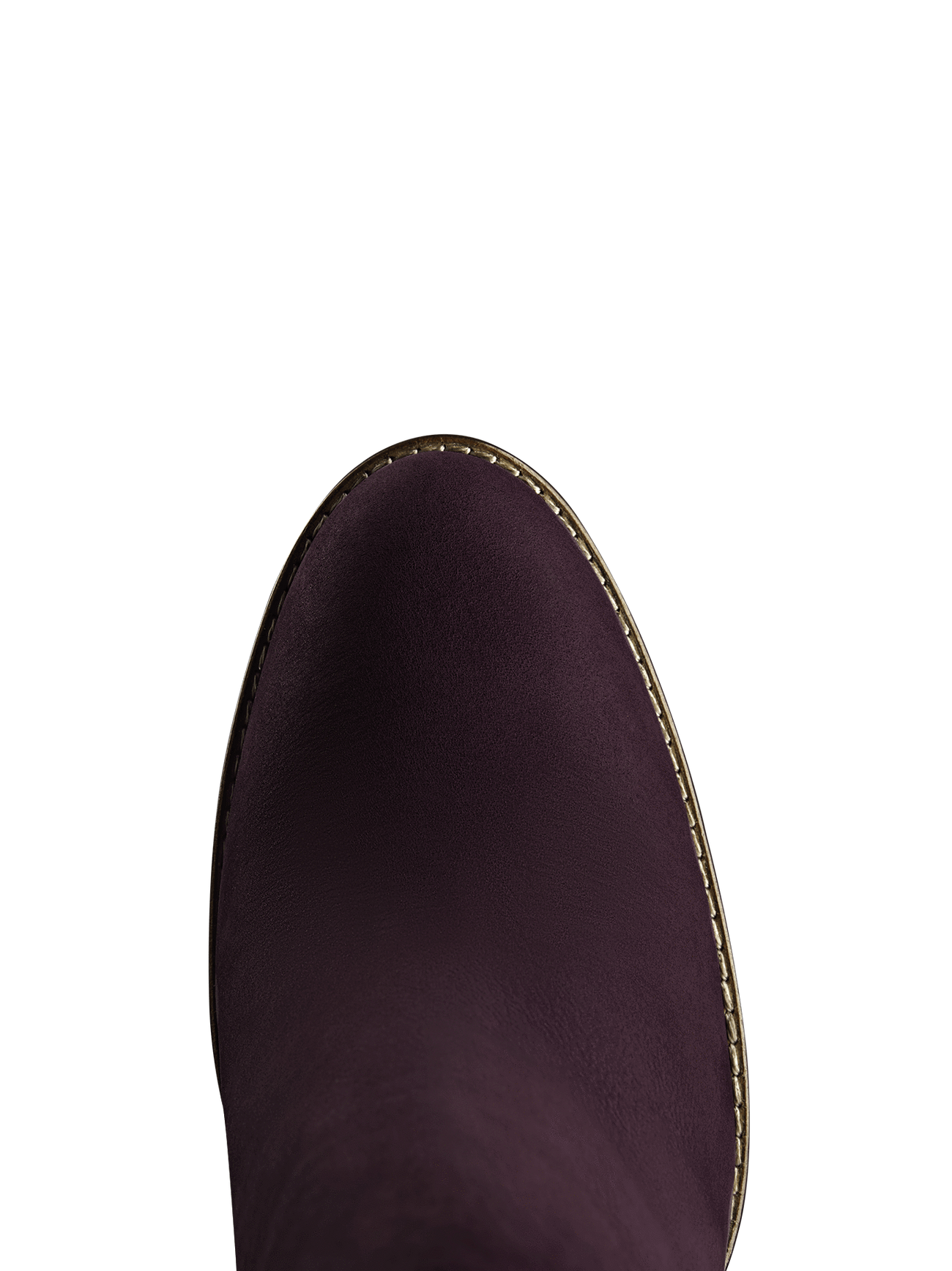This purple ankle boot has an almond toe shape highlighted by contrast stitching.