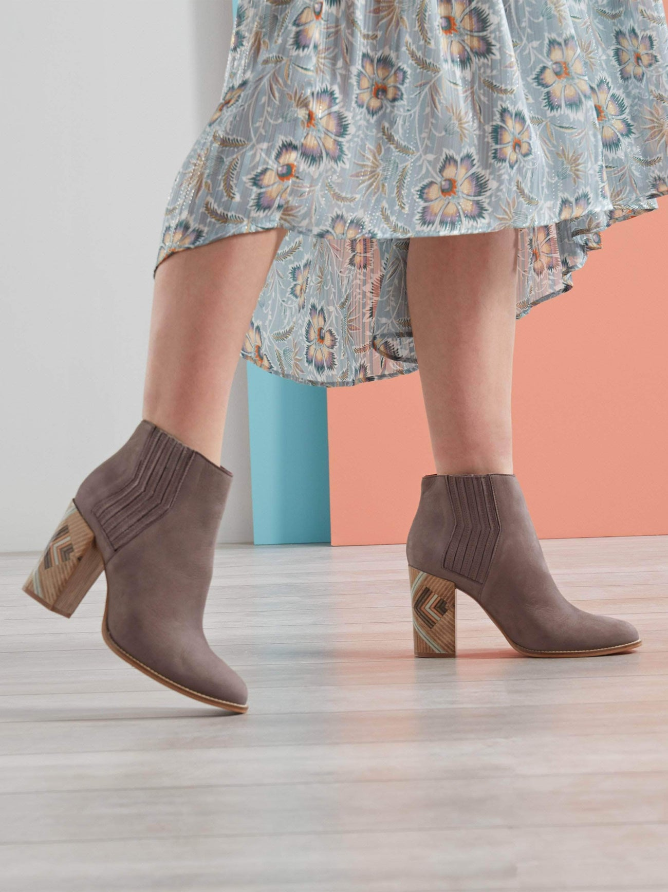 Paragon, a mid-height heeled ankle boot with a unique pattern.