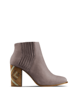 Paragon, our luxury taupe nubuck Chelsea boot with a hand stacked leather heel.