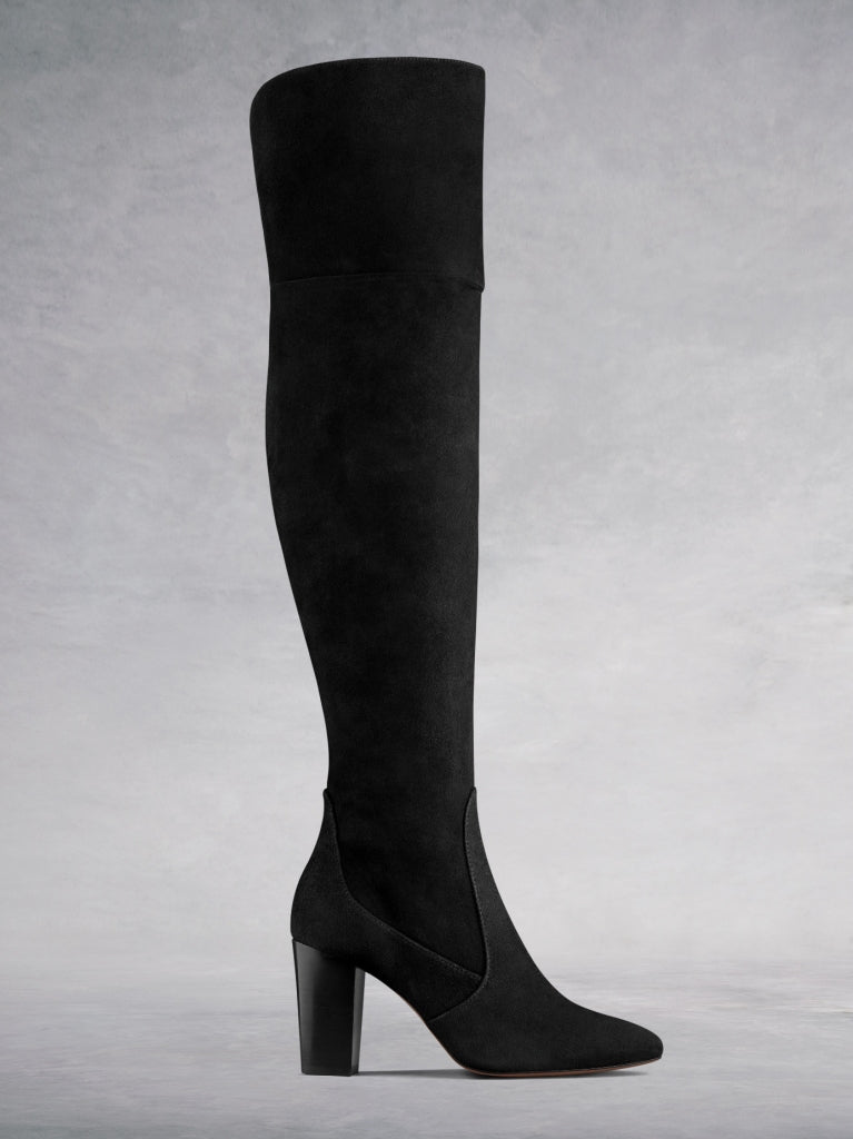 Parkhurst Black Suede - High-heeled suede over-the-knee boots.