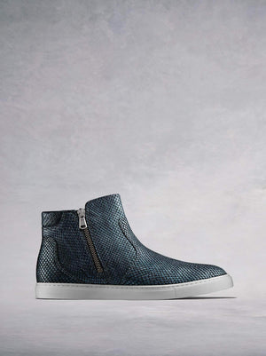 Parsonage, a stylish hi-top trainer in navy snake embossed suede.