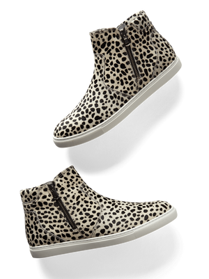Parsonage, a stylish hi-top trainer in white and black hair leather.