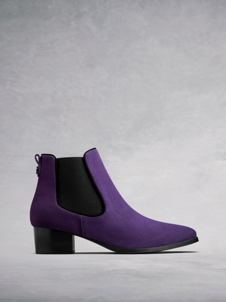 Pixie Purple Suede - Chelsea ankle boots with pointed toe.
